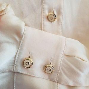 St. John Tops - St. John Silk Cream Ruffle Front Button Up Down